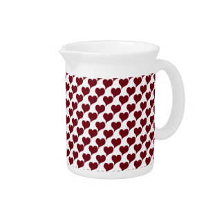 Stylized Red Hearts Beverage Pitcher
