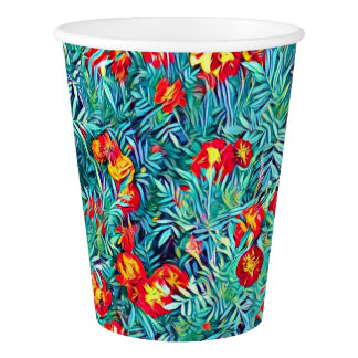 Stylized Red / Orange Flowers Paper Cup