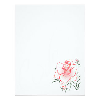 Stylized Red Rose and Love 11 Cm X 14 Cm Invitation Card