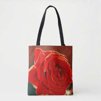Stylized Red Rose Tote Bag