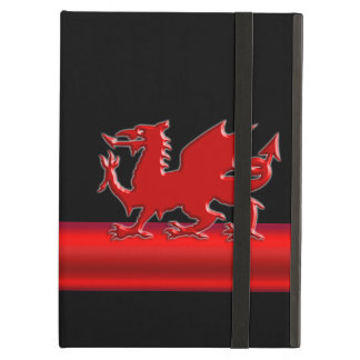 Stylized Red Welsh Dragon, red metallic look strip iPad Air Cover