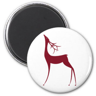 Stylized Reindeer for the Holidays 6 Cm Round Magnet