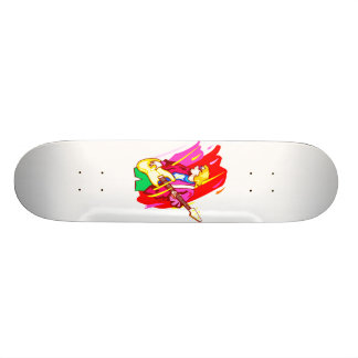 Stylized rock bass player graphic design image skateboard deck