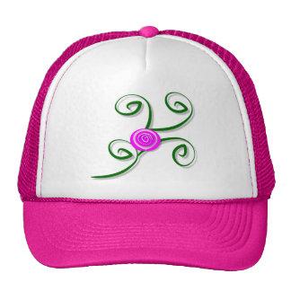 Stylized Rose and Swirls Hat