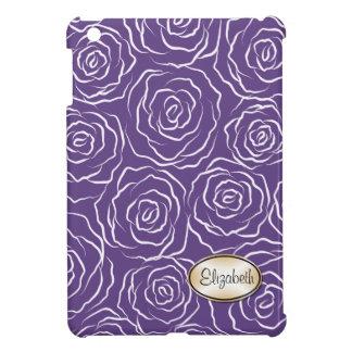 Stylized Roses Pattern iPad Mini Case -plum