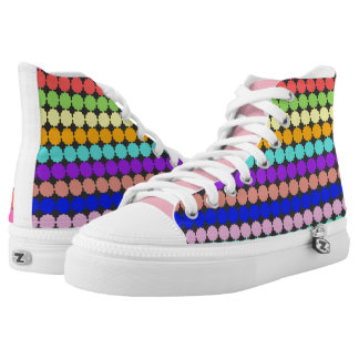 Stylized round flowers (white background) high tops