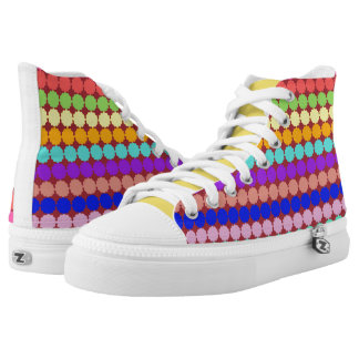 Stylized round flowers (white/dark background) high tops