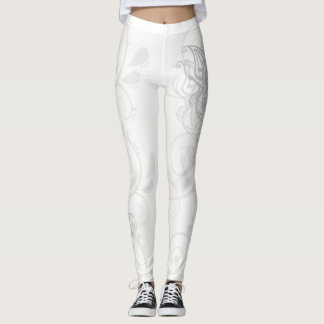 Stylized Silver Butterfly Leggings