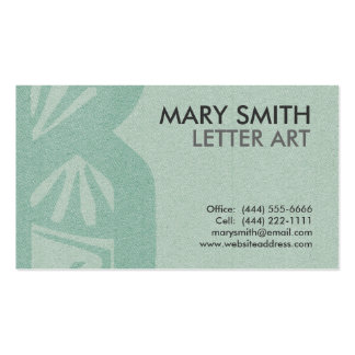 """Stylized Soft Green Letter """"B"""" Business Card"""