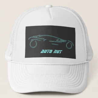 Stylized Sportscar - glowing neon auto design Trucker Hat