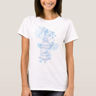 Stylized spring bird cage aqua blue t-shirt