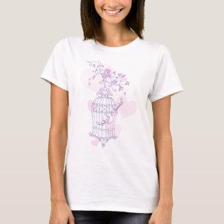 Stylized spring bird cage purple pink t-shirt
