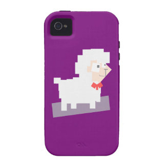 Stylized Square Shaped Cartoon Sheep with Bow Tie iPhone 4/4S Case