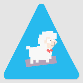 Stylized Square Shaped Cartoon Sheep with Bow Tie Triangle Sticker