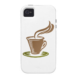 Stylized Steaming Hot Coffee Cup on a Green Saucer iPhone 4 Case