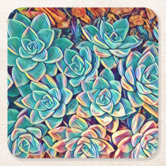 Stylized Succulents Paper Coaster
