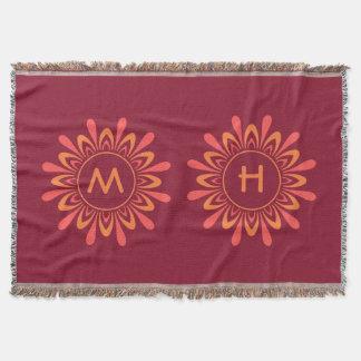 Stylized Sun / Flower Pattern custom monogram Throw Blanket