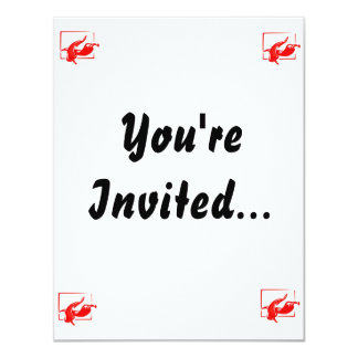 Stylized two red w frame peppers 11 cm x 14 cm invitation card