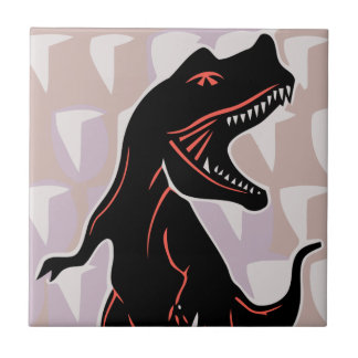 Stylized Tyrannosaurus Small Square Tile