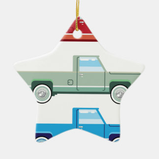 Stylized Vector Old Pickup Truck vector Ceramic Star Decoration