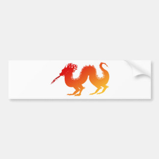 Stylized Vibrant Fire Dragon Spewing Flames Bumper Sticker