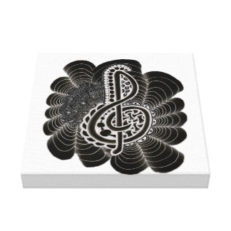 Stylized White on Black Treble Clef Music Doodle Stretched Canvas Prints