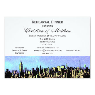 Stylized Wide NYC Skyline #4 Rehearsal Dinner H Card