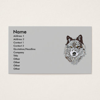Stylized Wolf Head Business Card