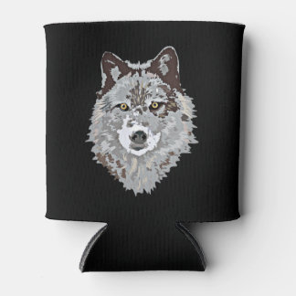 Stylized Wolf Head Can Cooler