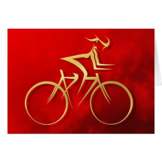 Stylized Woman in Gold Cycling Greeting Card