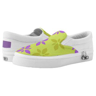 Stylized yellow&purple flowers Slip-On shoes