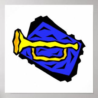 Stylized Yellow Trumpet Grapic Blue Background Print