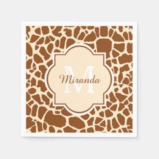 Stylsih Brown Giraffe Print Monogram and Name Paper Serviettes