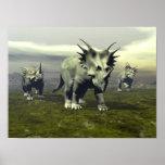 Styracosaurus dinosaurs - 3D render Poster
