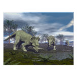Styracosaurus dinosaurs going to water - 3D render Poster