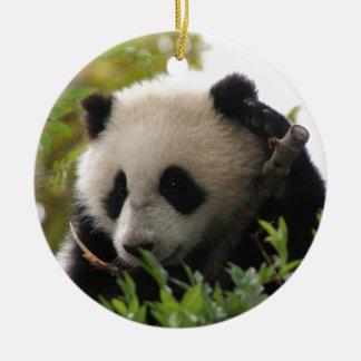 Su Lin, giant panda bear cub at the San Diego Zoo Round Ceramic Decoration