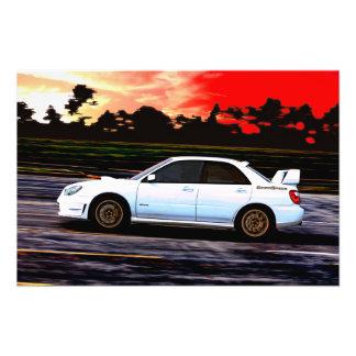 Subaru STi Racing at Sunset Photograph