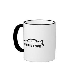 """Subaru STI """"Subbie Love"""" Silhouette Ringer Mug"""