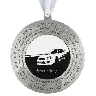 Subaru WRX Impreza STI Rolling Shot Round Pewter Christmas Ornament
