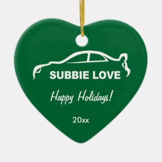 Subbie Love White Silhouette Logo Christmas Ornament