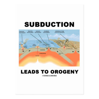 Subduction Leads To Orogeny (Geology Humor) Post Cards