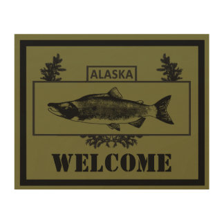 Subdued Alaska Combat Fisherman Badge - Welcome Wood Print