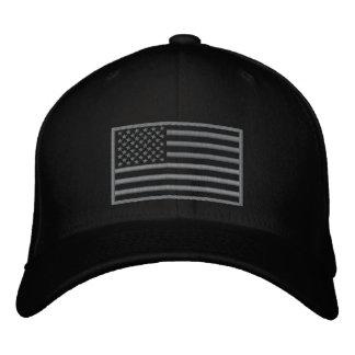 Subdued Colors U.S. Flag Embroidered Hat (Black)