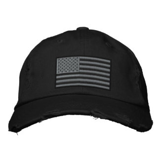 Subdued Colors US Flag Embroidered Distressed Hat Baseball Cap