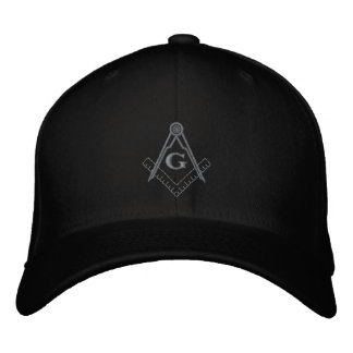 Subdued Embroidered Square and Compass Ballcap Embroidered Hats