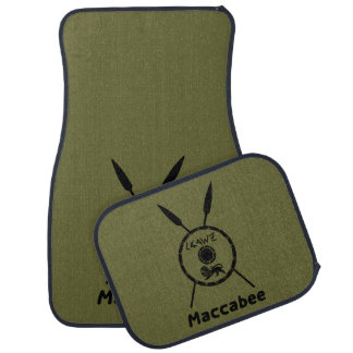 Subdued Maccabee Shield And Spears Car Mat