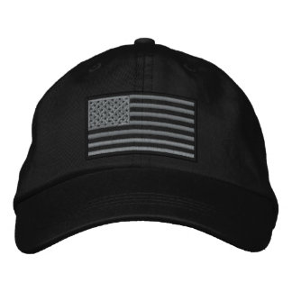 Subdued U.S. Flag Embroidered Hat (Black)