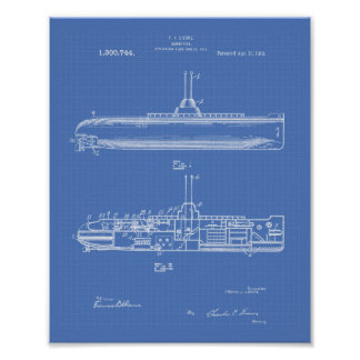 Submarine 1919 Patent Art Blueprint Poster