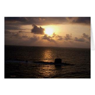 Submarine And Sunset Greeting Card