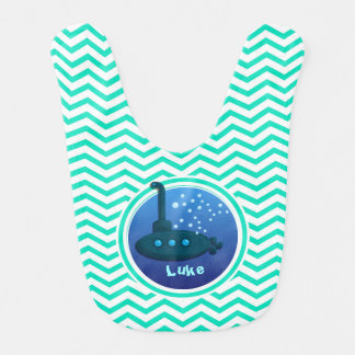 Submarine; Aqua Green Chevron Bib